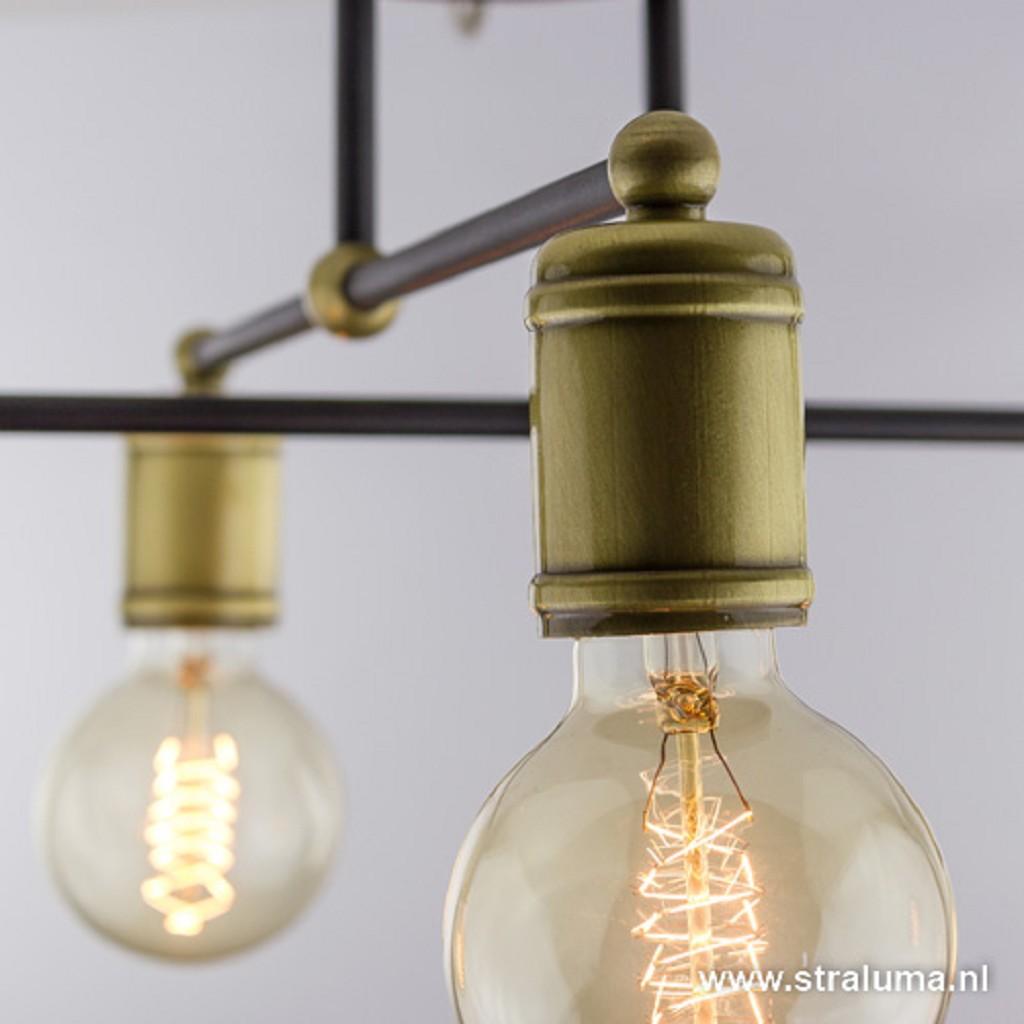 Landelijke plafondlamp brons woonkamer