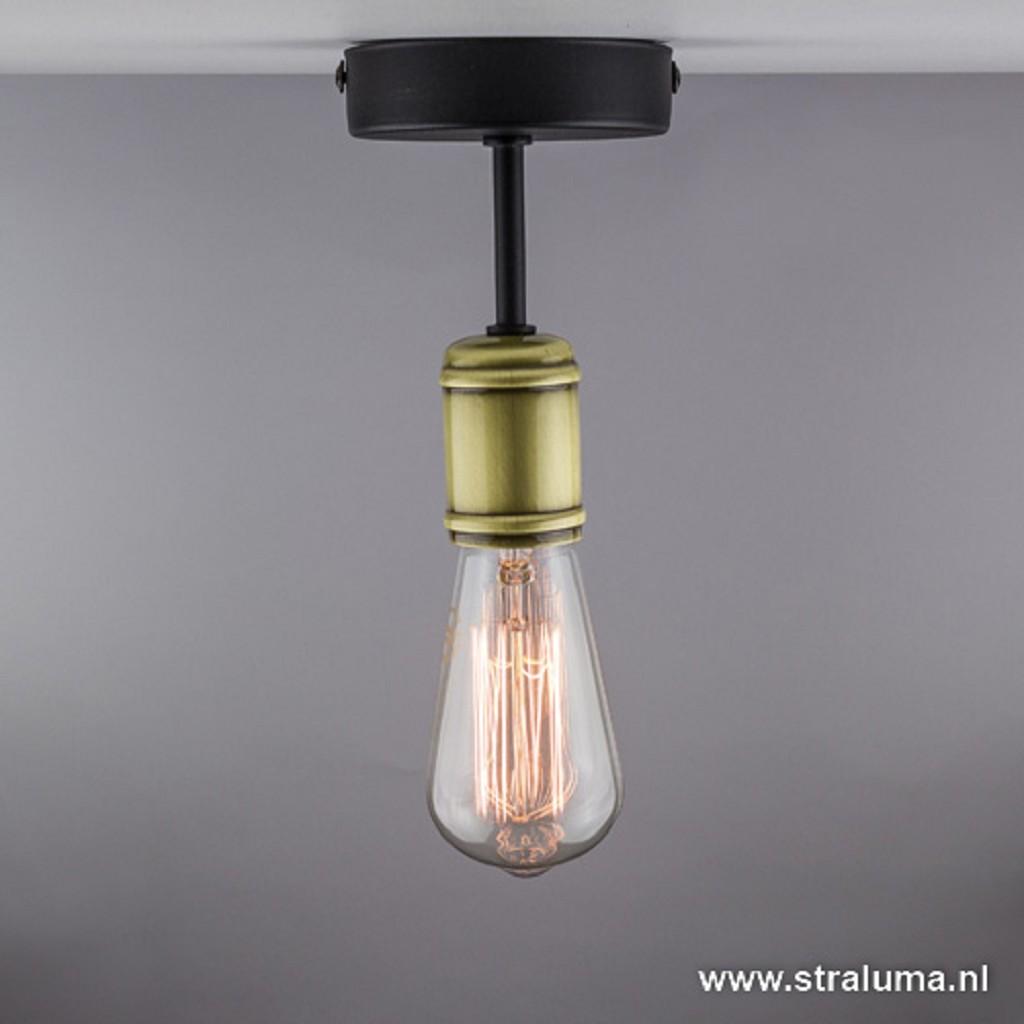 Landelijke plafondlamp zwart-brons wc
