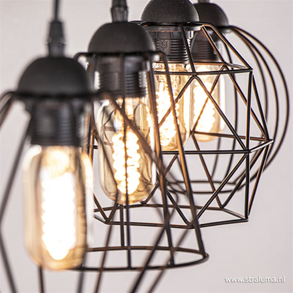 Eettafel draad-hanglamp zwart 4-lichts