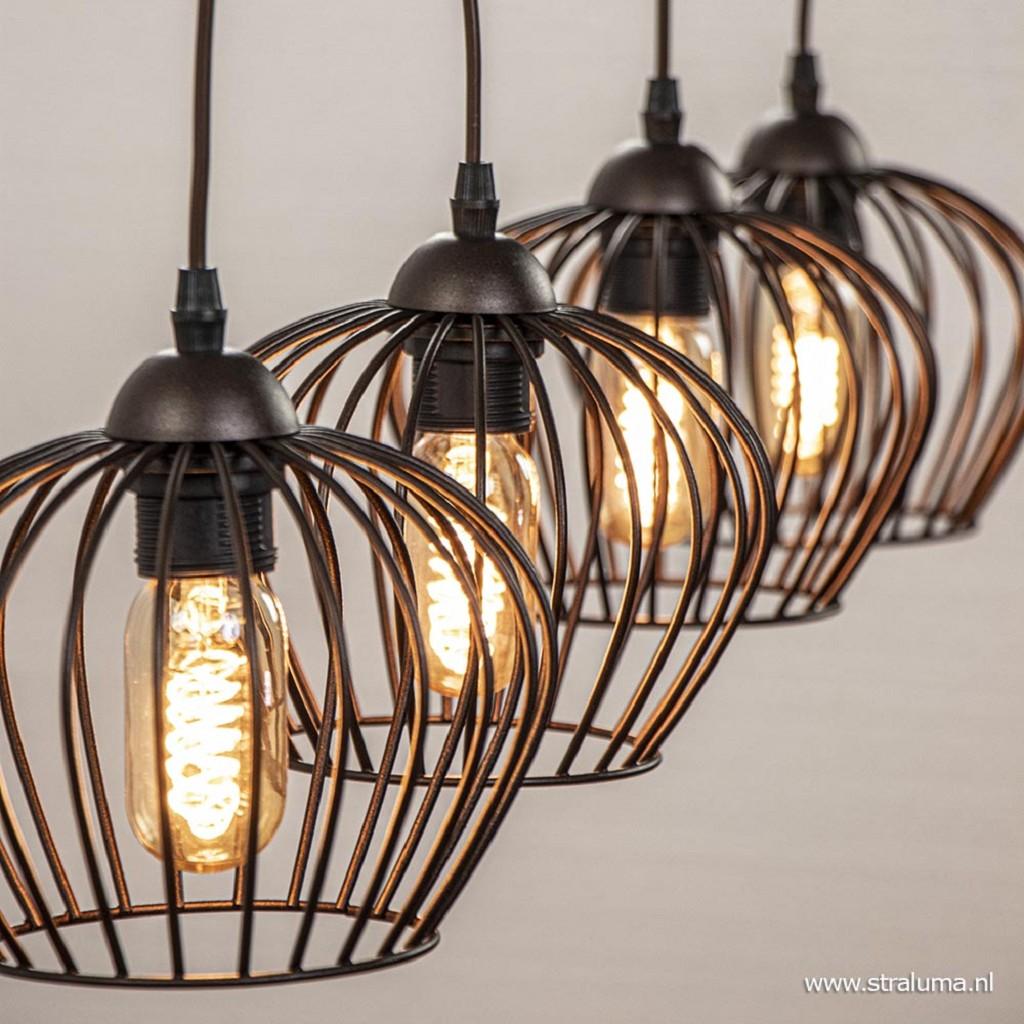 Landelijke hanglamp Tina 4-lichts bruin