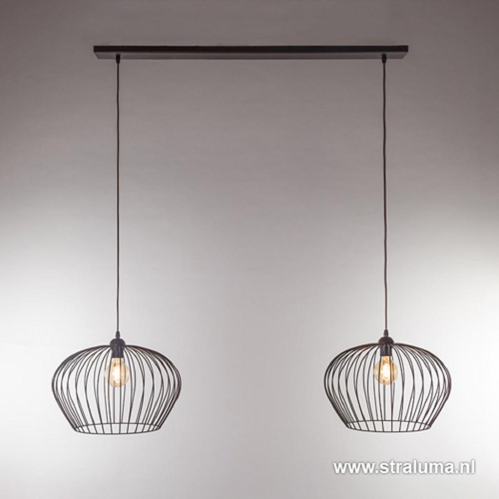 Landelijke hanglamp draad bruin