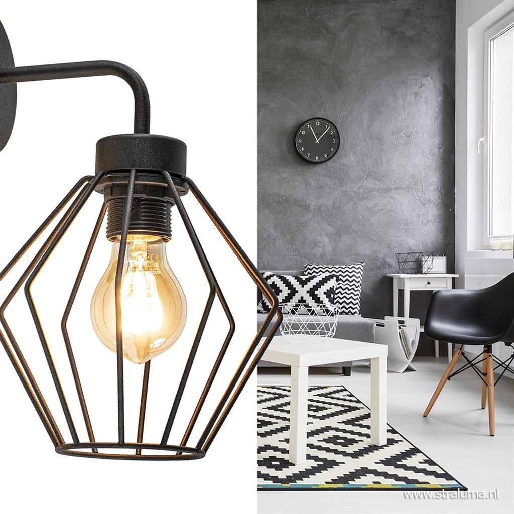 Zwarte wandlamp draad Korf