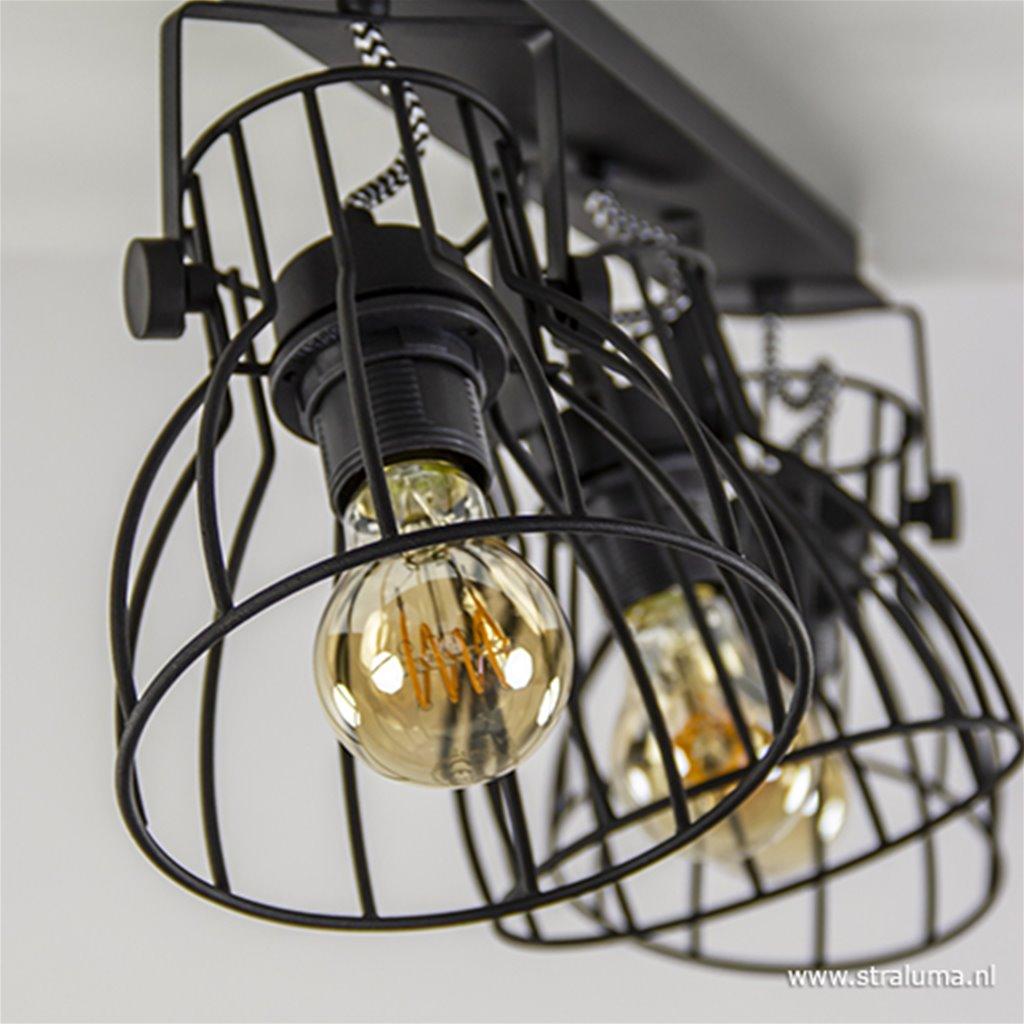 Plafondspot 3-L open frame zwart industrieel