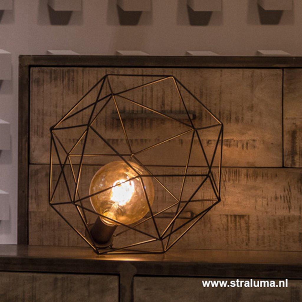 Kleine vloerlamp-tafellamp draad zwart