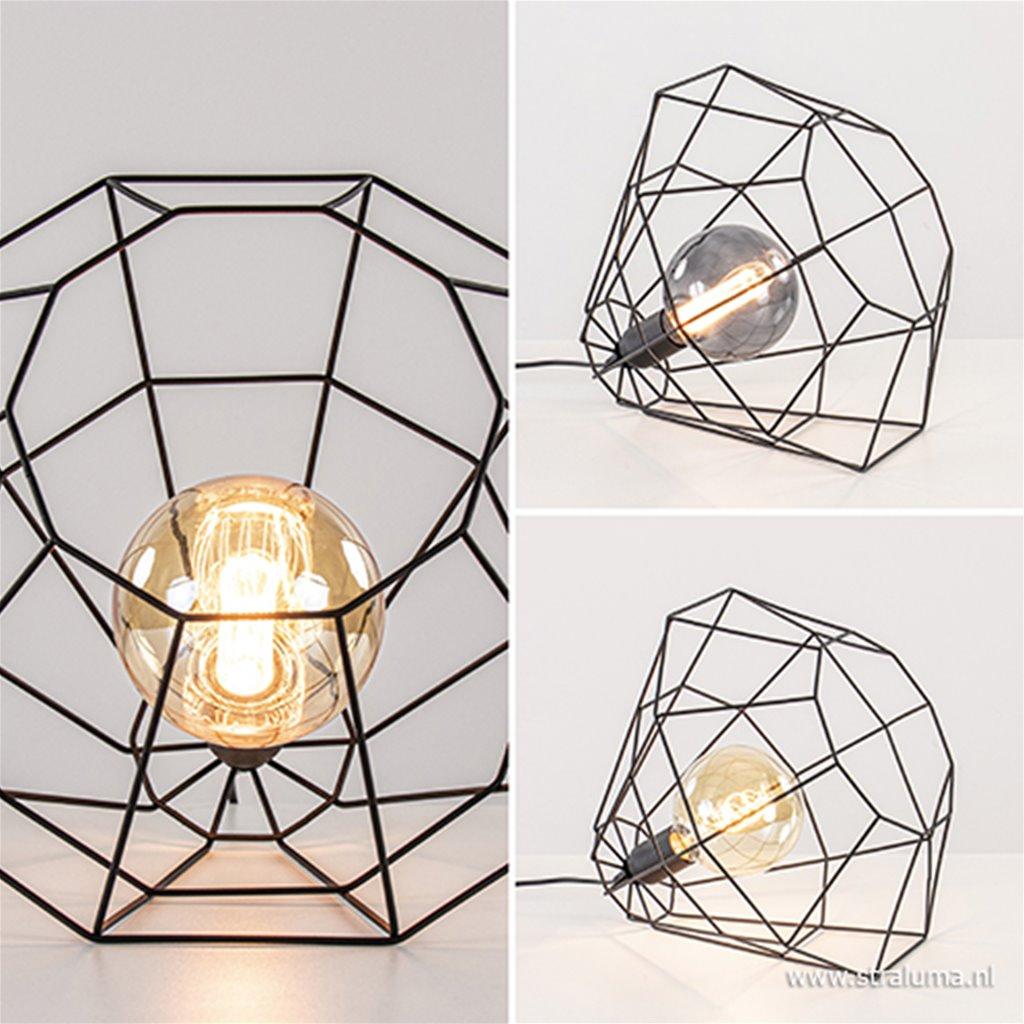 Zwarte draad tafellamp-vloerlamp