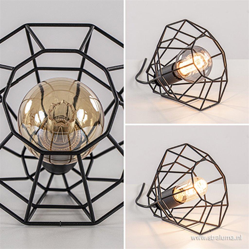 Zwarte draad tafellamp-vloerlamp klein