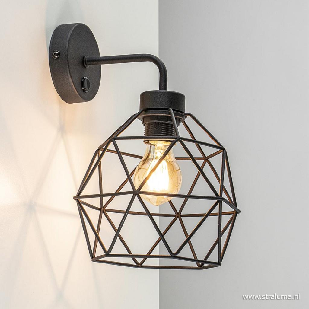 Draad wandlamp zwart met snoer