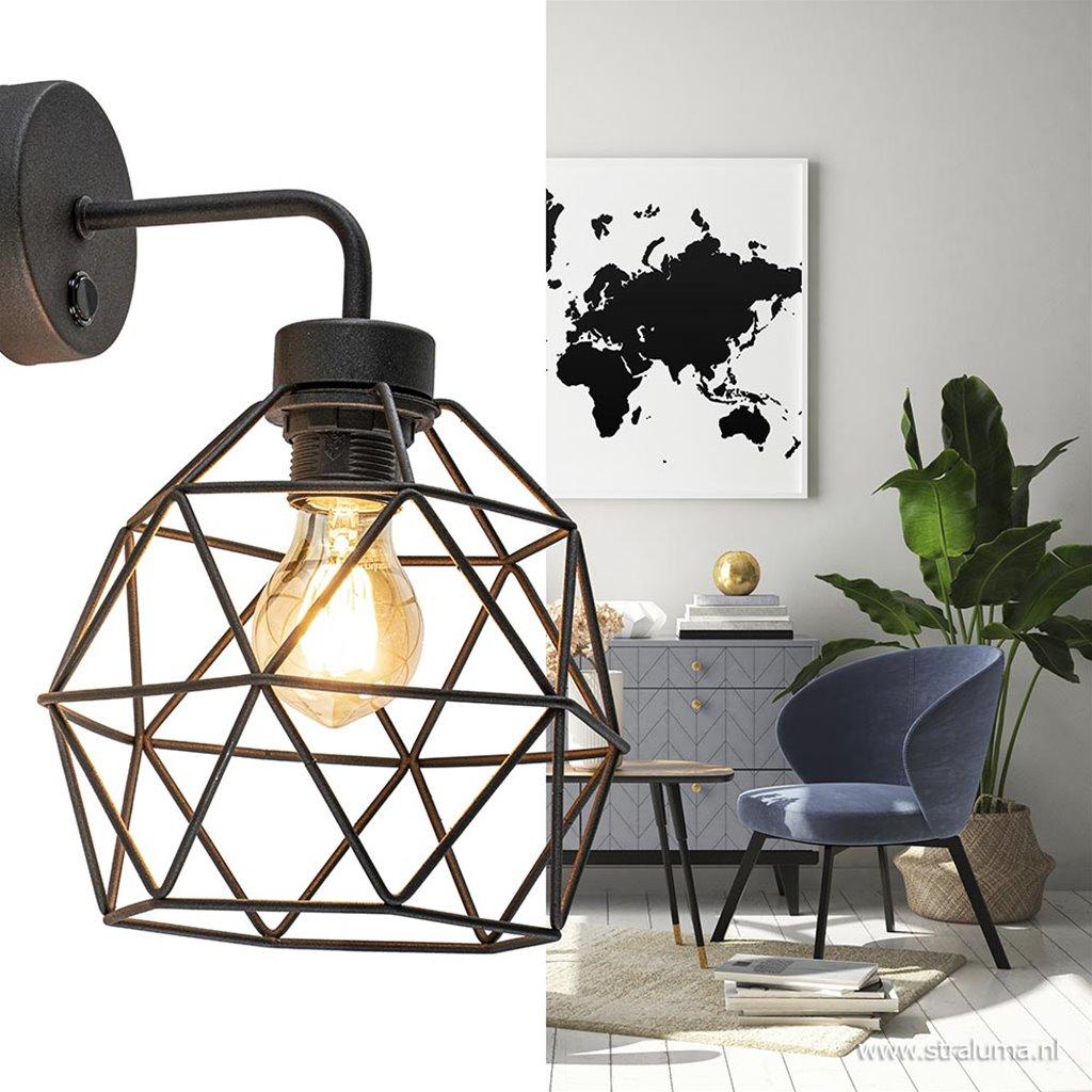 Draad wandlamp zwart met korf