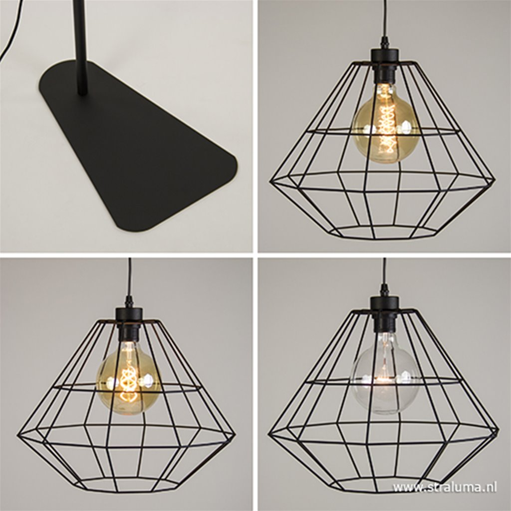 Zwarte vloerlamp met draadkap diamant