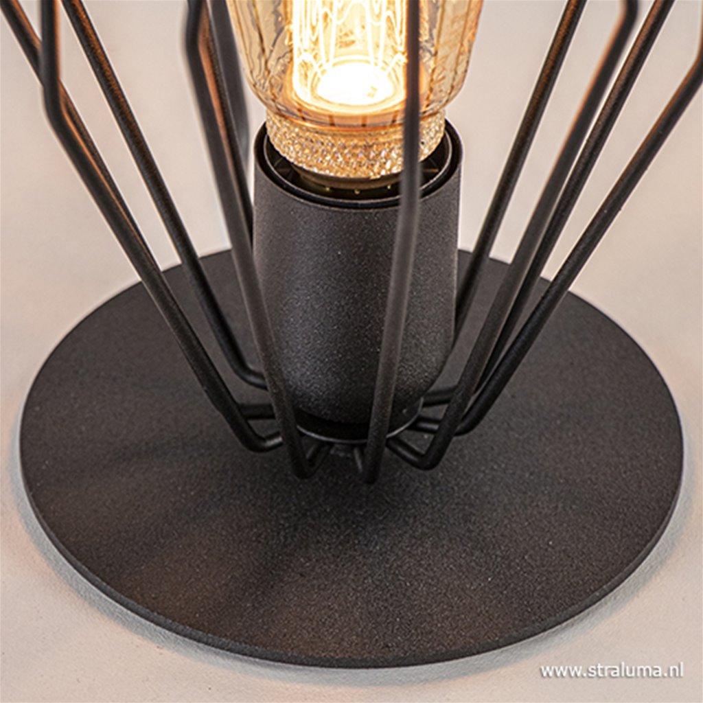 Kleine draad tafellamp mat zwart