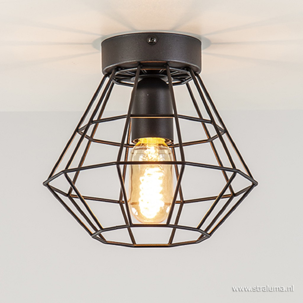 Kleine draad plafondlamp zwart