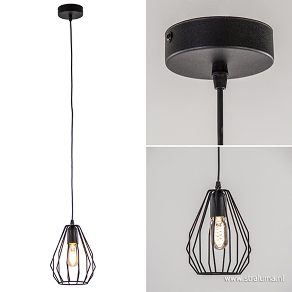 Kleine draadhanglamp zwart