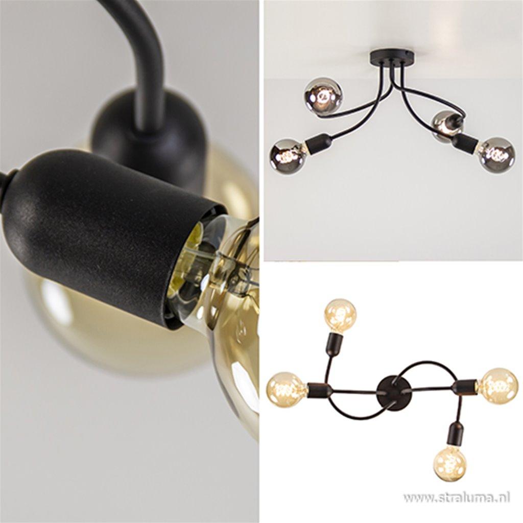 Moderne 4-lichts plafonnière zwart