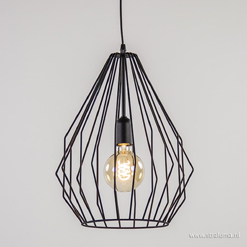 Grote Scandinavische draadhanglamp zwart