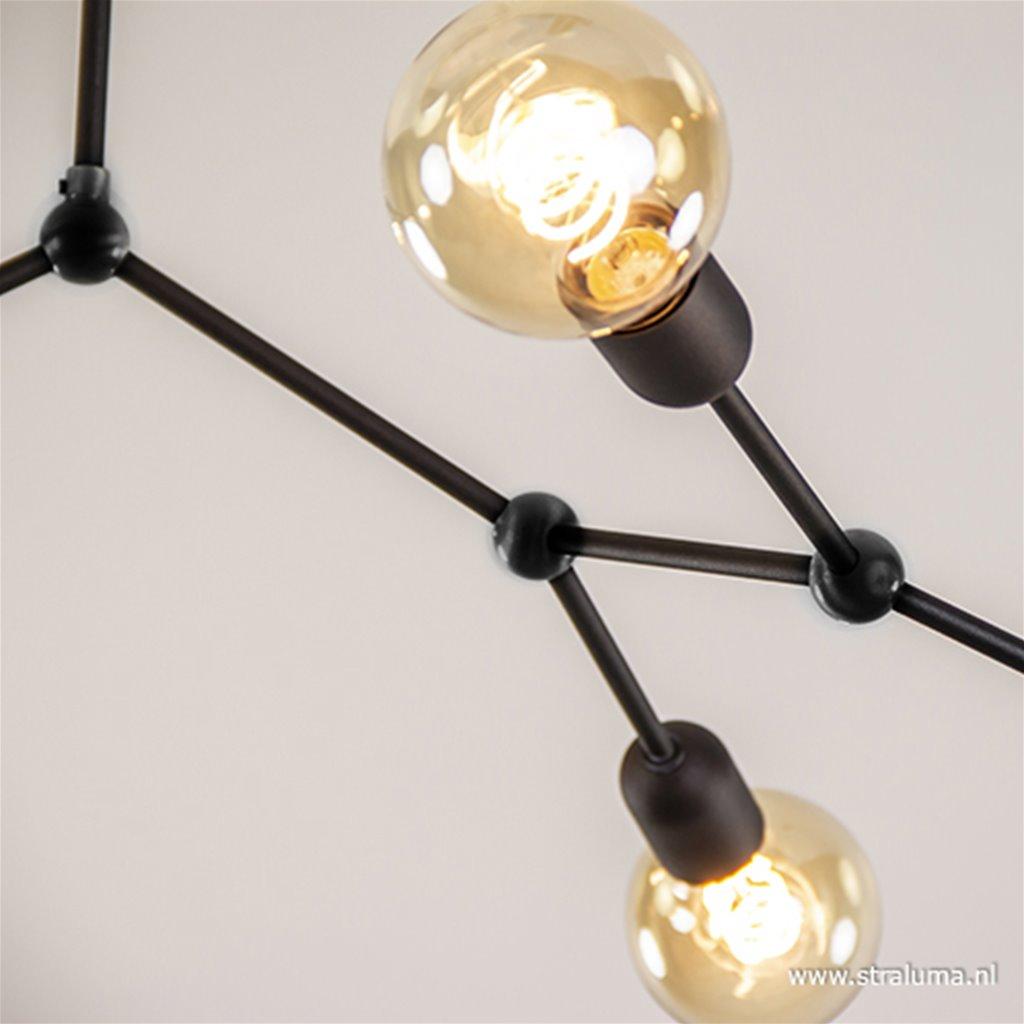 Plafondlamp geheel zwart 6-lichts armen
