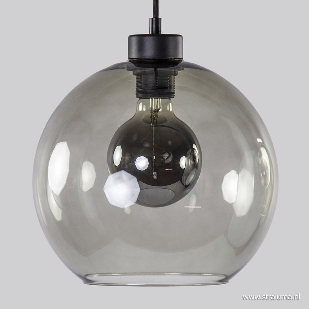Ronde hanglamp 3-lichts glas smoke