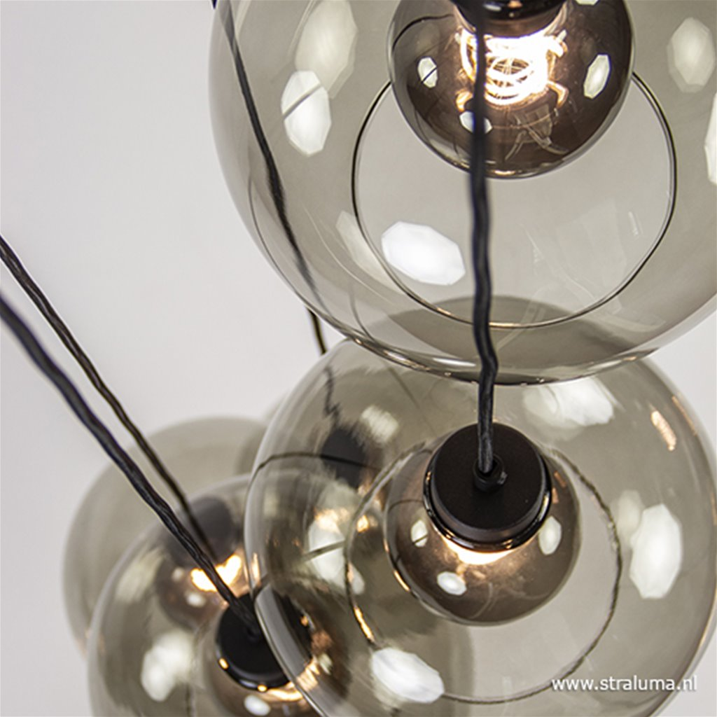 Trendy ronde hanglamp 5-lichts met glas