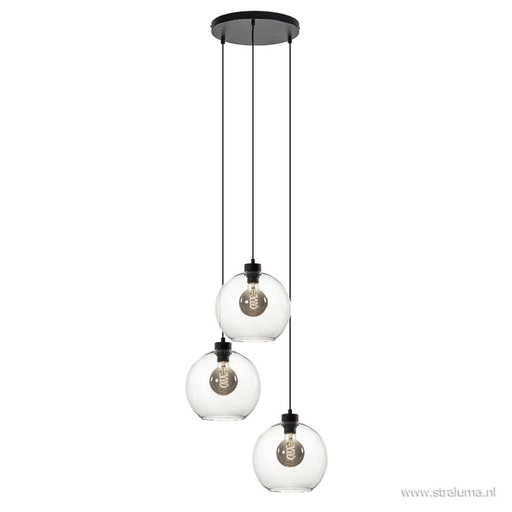 Hanglamp 3-lichts rond glas helder 25cm