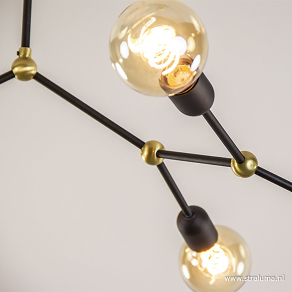 Retro plafondlamp zwart/goud 6-lichts