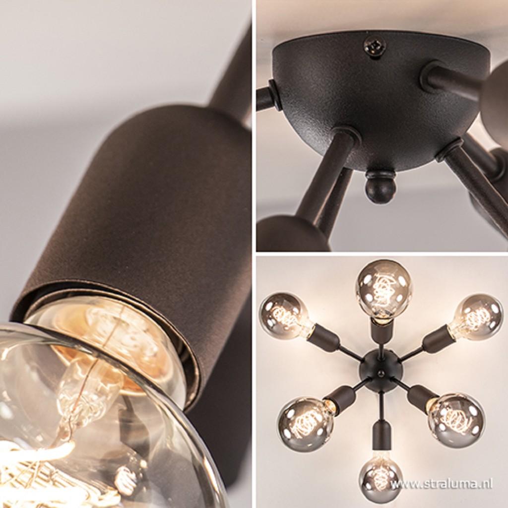 Retro 6-lichts plafondlamp zwart