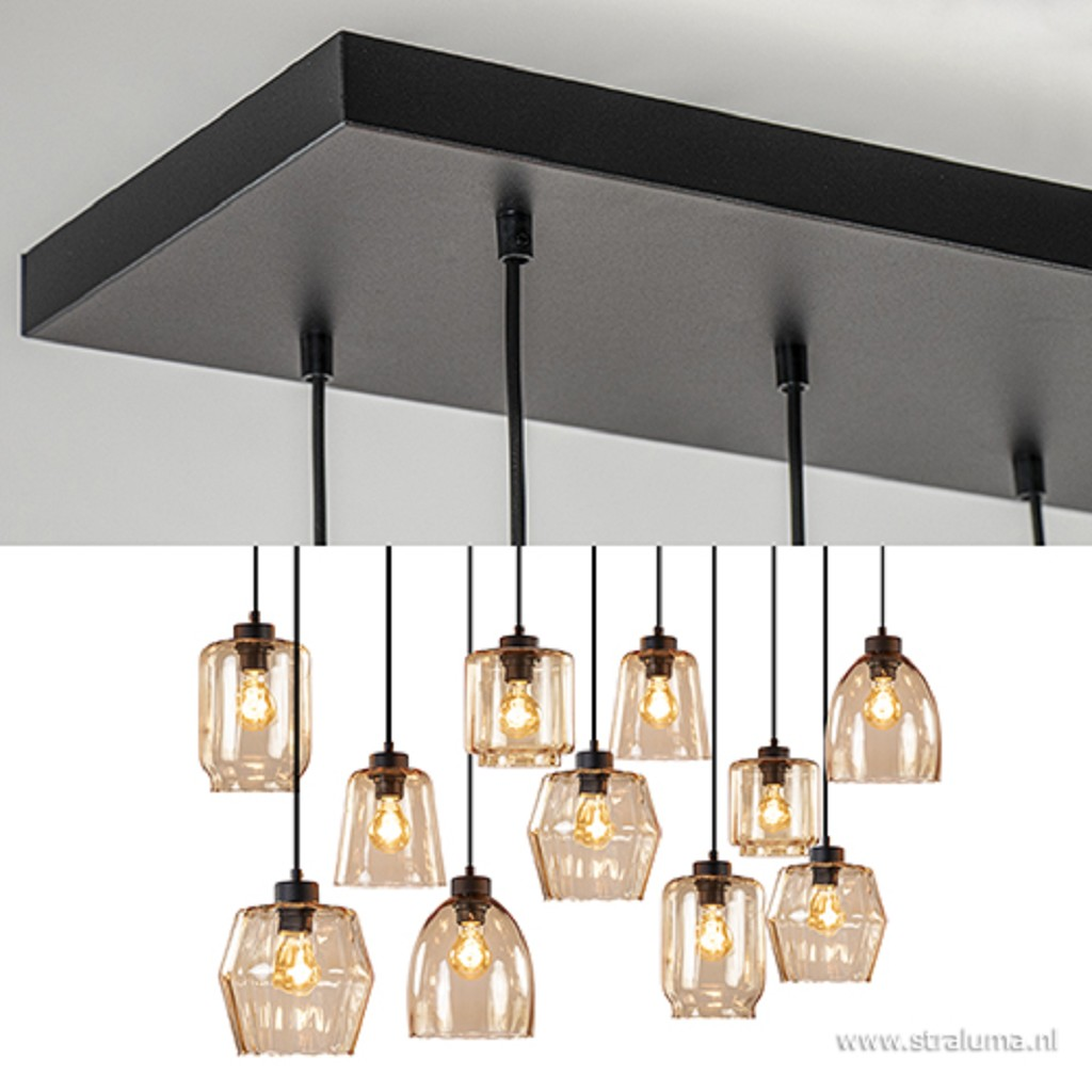 Grote hanglamp met meerdere glazen amber