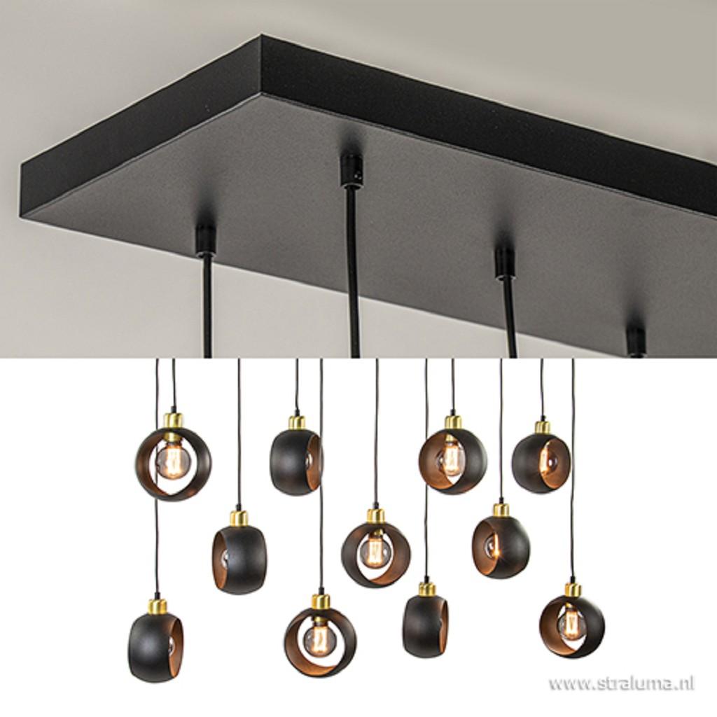 Chique grote hanglamp 11-lichts zwart/br