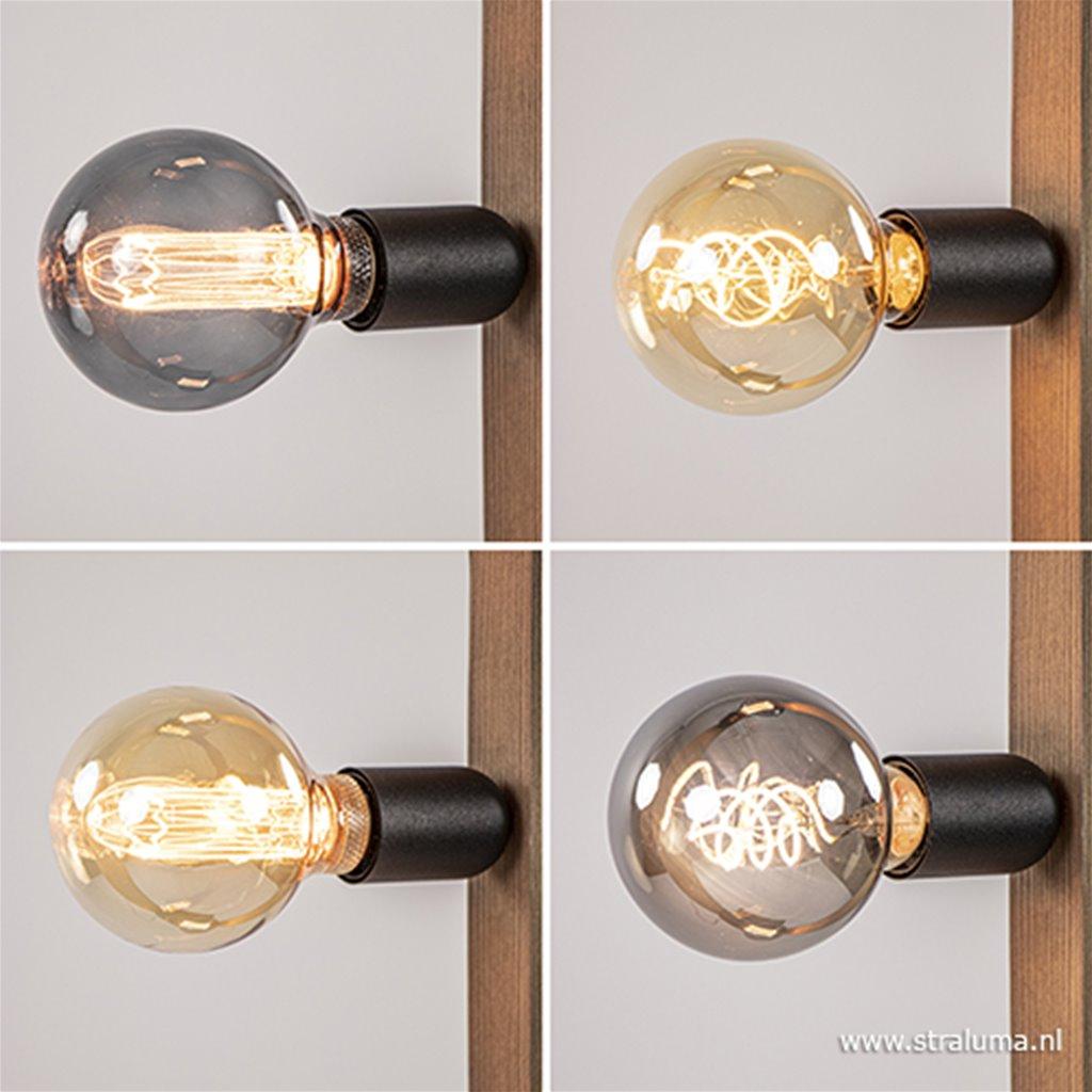 Vloerlamp frame hout met zwart landelijk