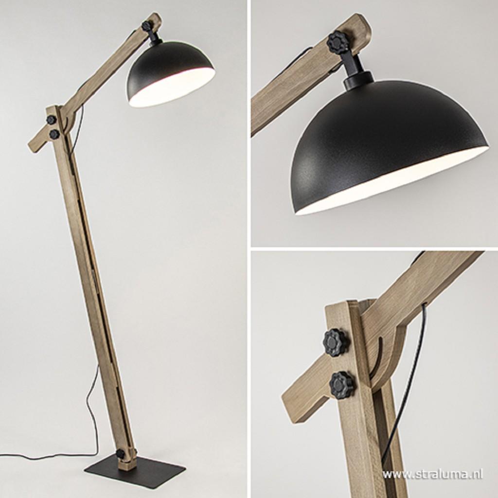 Grote vloerlamp hout + zwarte kap