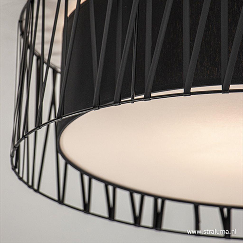 Grote ronde plafondlamp zwart 72 cm