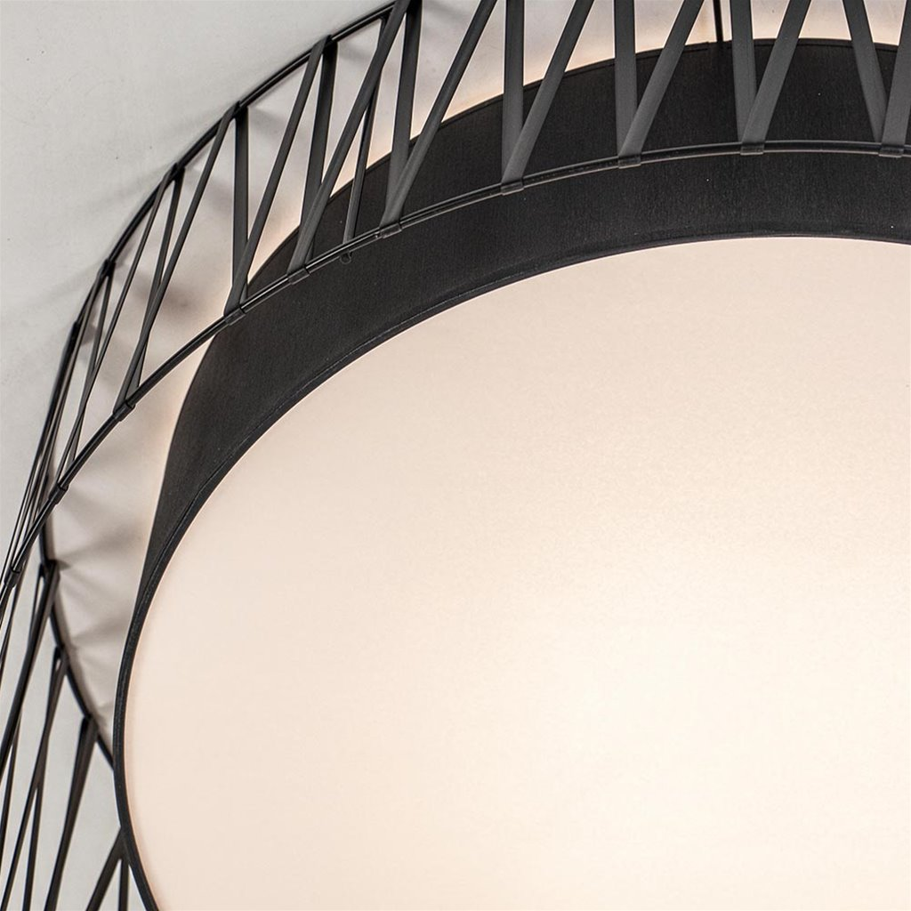 Moderne zwarte plafondlamp met sierrand