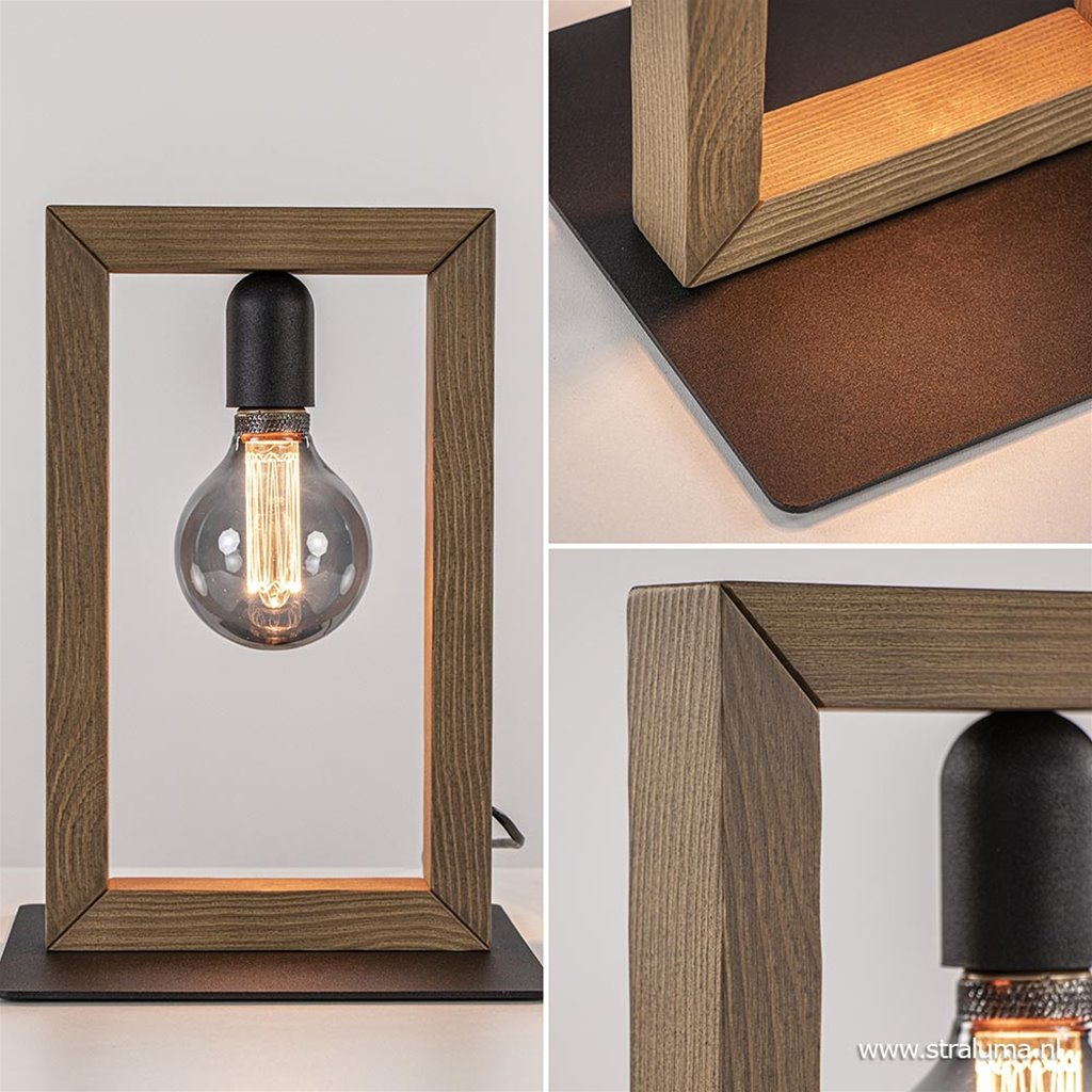 Houten tafellamp frame met zwart