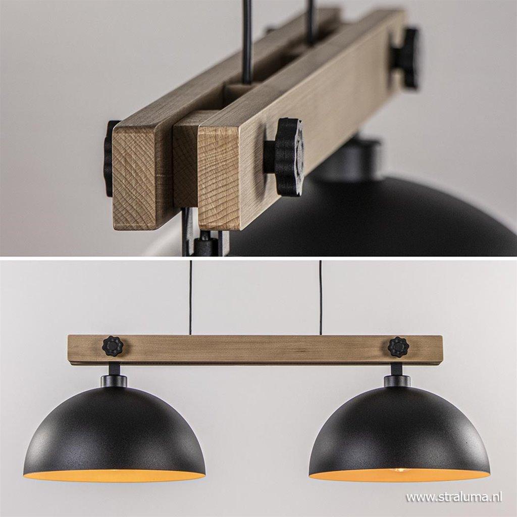 Hanglamp houten balk met zwarte kappen