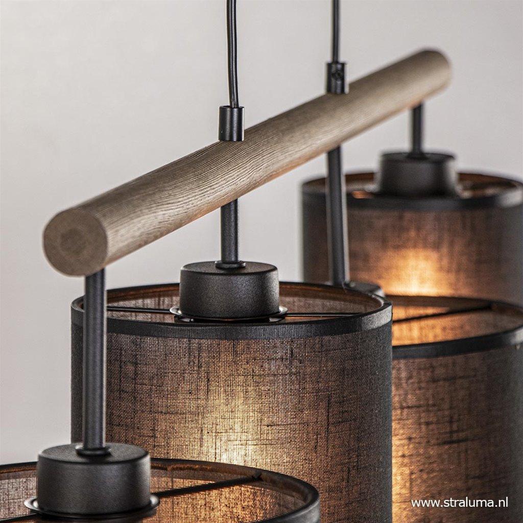 Landelijke hanglamp hout + zwarte kapjes
