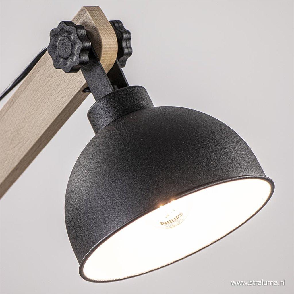 Landelijke tafellamp hout met zwart