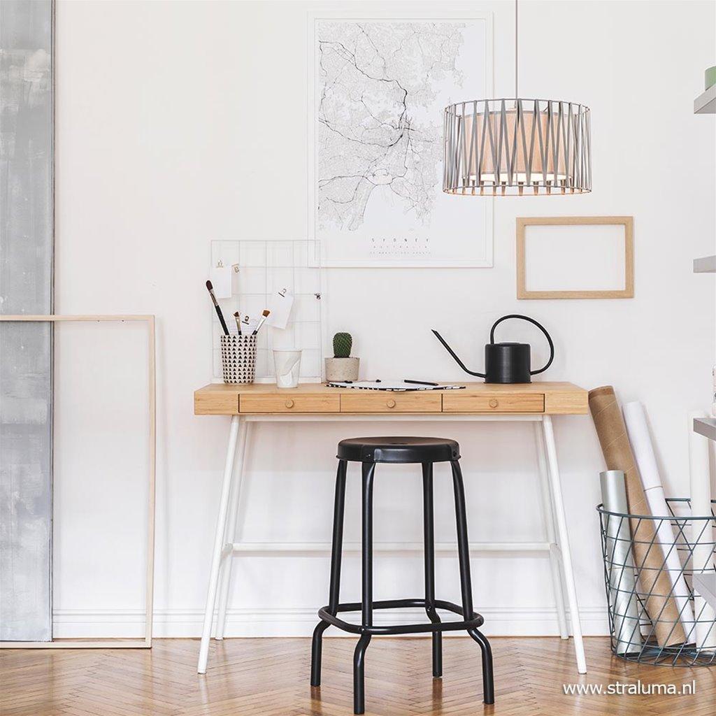 Moderne hanglamp met grijze ronde kap