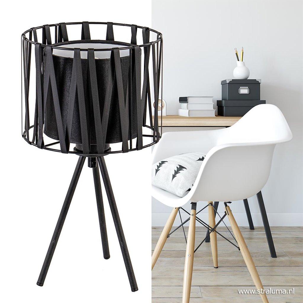 Driepoot tafellamp met zwarte kap