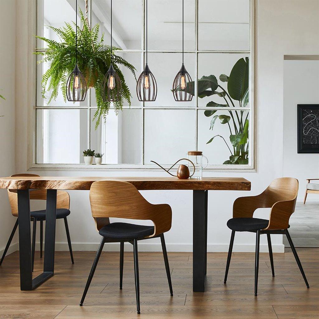 4-Lichts moderne draad eettafelhanglamp zwart
