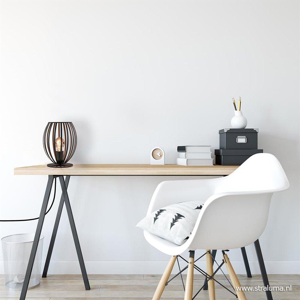 Moderne draad tafellamp mat zwart metaal