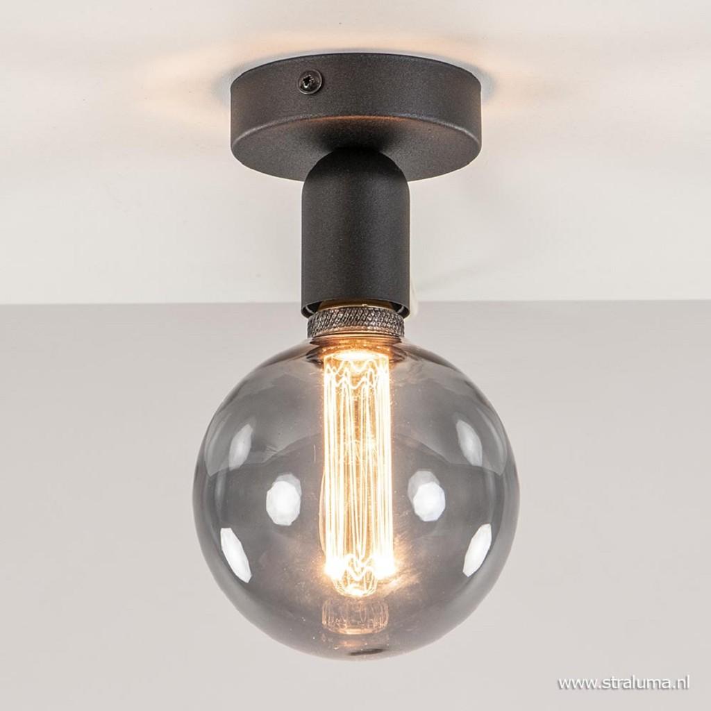Moderne plafondlamp hal/toilet zwart excl. lichtbron