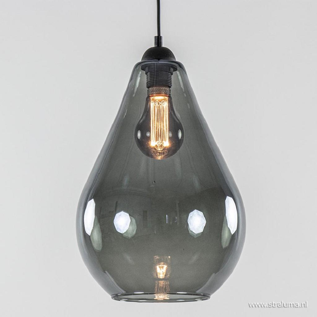 Hanglamp zwart met smoke glazen kap
