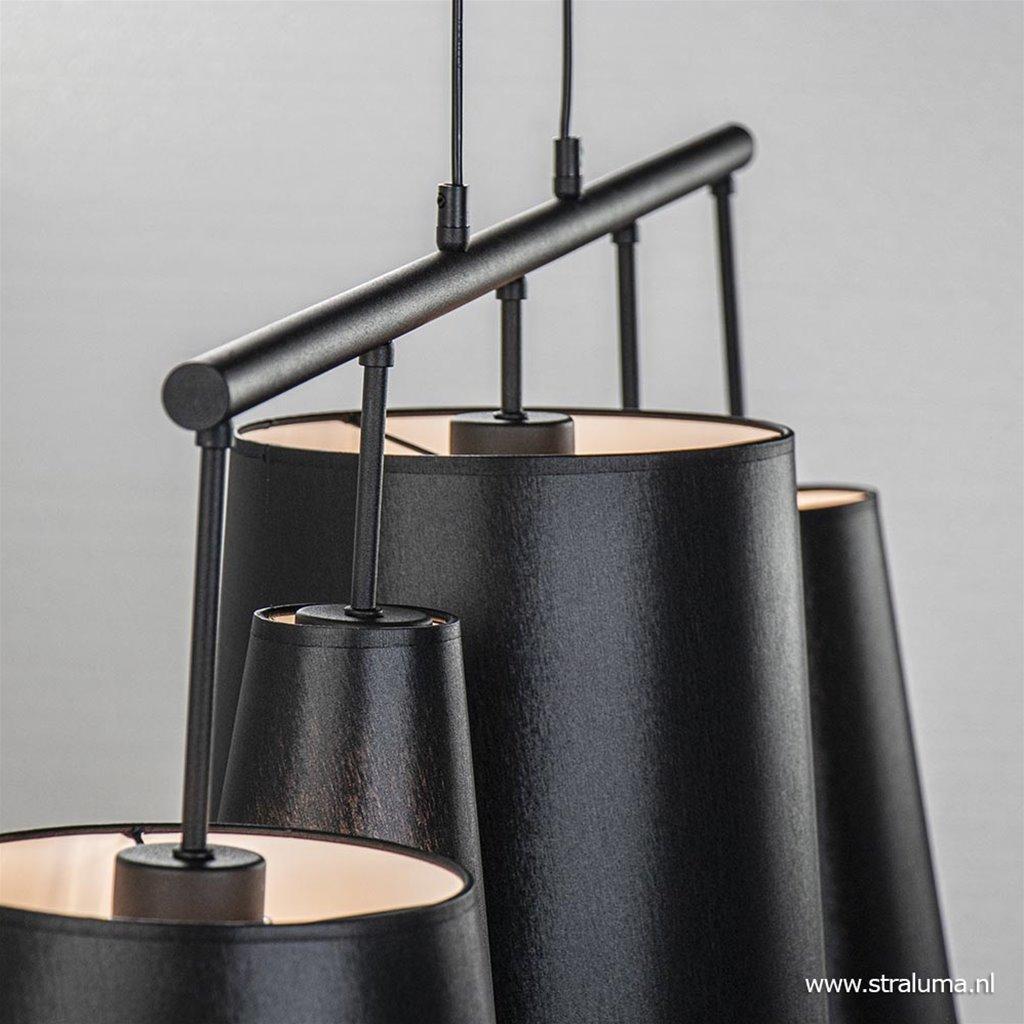 5-Lichts hanglamp zwart met zwarte kappen