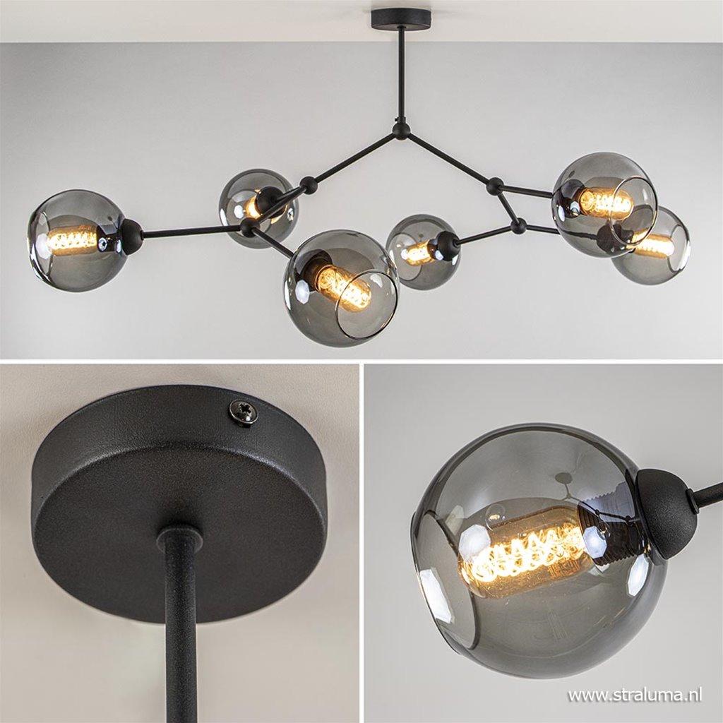 Plafondlamp 6-armen zwart/smoke glasbol