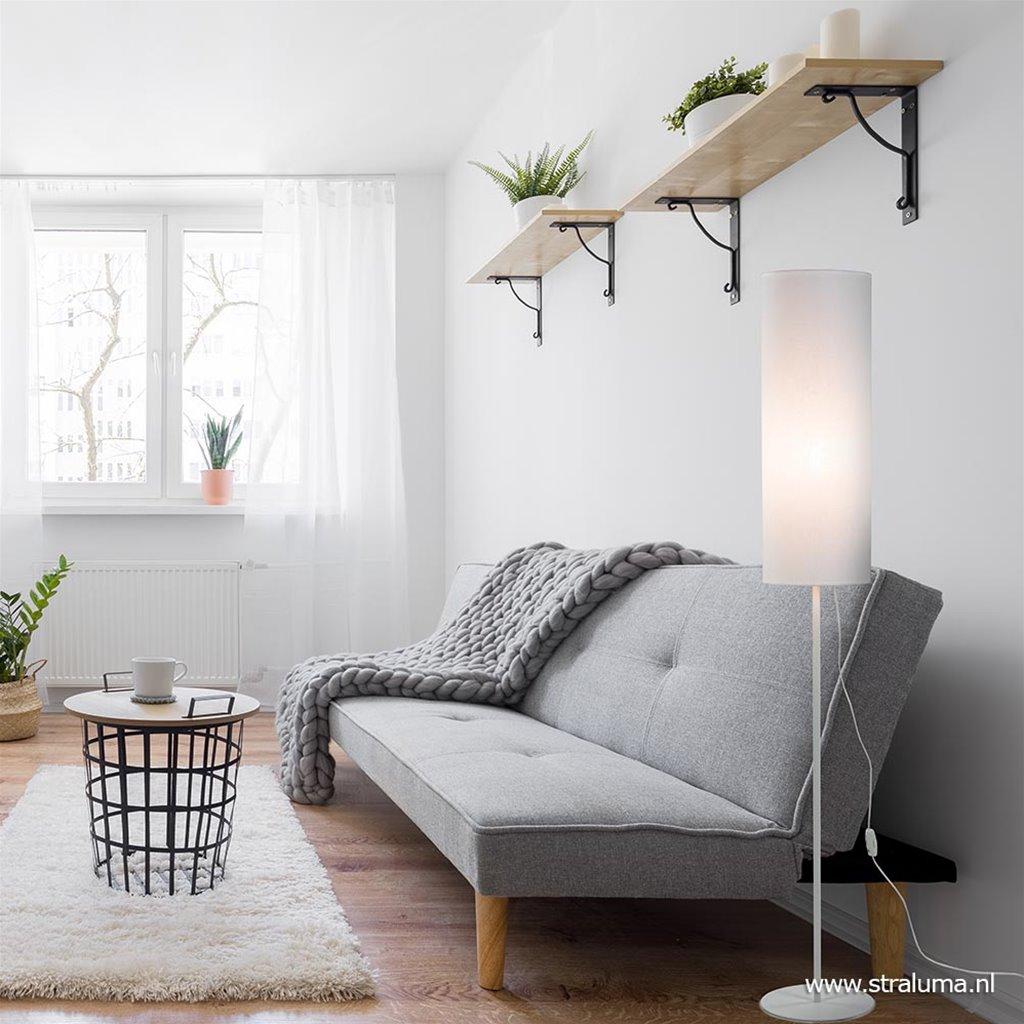 Modern Scandinavische vloerlamp met kap wit