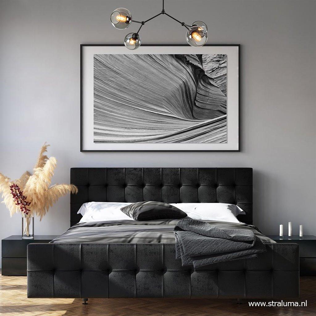 Trendy plafondlamp mat zwart met smoke glas