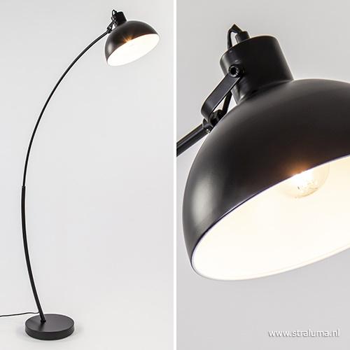 Moderne booglamp zwart kantelbare kap
