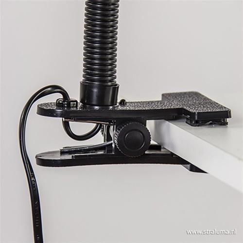 Klemplamp bureau/tafel zwart zilvergrijs