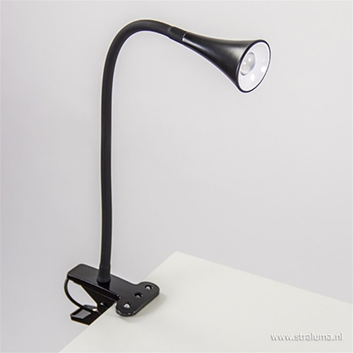 Moderne LED klemspot leeslamp zwart