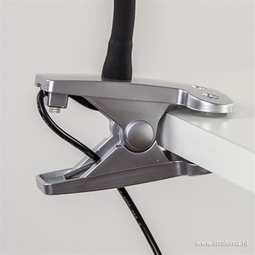 LED klemlamp/klemspot zwart met zilver