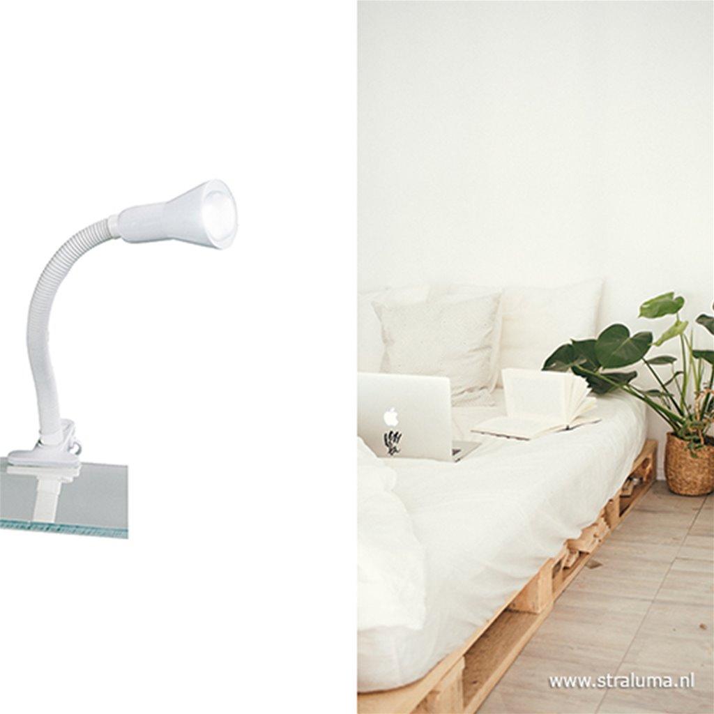 Functionele klemlamp wit verstelbaar
