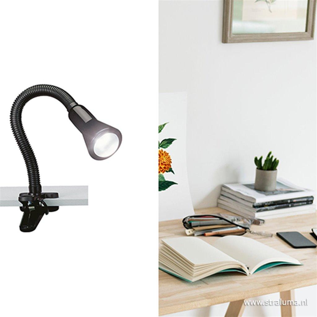 Zwarte klemlamp/leeslamp voor bureau